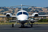 A Piaggio P.180 Avanti starts its engines as it prepares to depart the Petaluma Municipal Airport, Petaluma, Sonoma County, California.