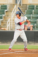 Mitch Walding (10) of the Lakewood BlueClaws at bat against the Kannapolis Intimidators at CMC-Northeast Stadium on August 14, 2013 in Kannapolis, North Carolina.  The Intimidators defeated the BlueClaws 10-2.  (Brian Westerholt/Four Seam Images)