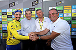 A celebration of 100 years of the Yellow Jersey stage winner Julian Alaphilippe (FRA) Deceuninck-Quick Step pictured with former wearers Eddy Merckx, Bernard Thevenet and Bernard Hinault at the end of Stage 13 of the 2019 Tour de France an individual time trial running 27.2km from Pau to Pau, France. 19th July 2019.<br /> Picture: ASO/Thomas Maheux | Cyclefile<br /> All photos usage must carry mandatory copyright credit (© Cyclefile | ASO/Thomas Maheux)