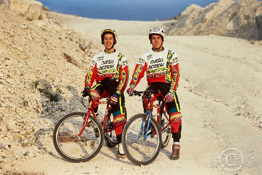 20105-04016 Martyn Ashton and Martin Hawyes . Apico Clothing and Specialized bikes . Portland Bill , Weymouth, Dorset.  Early 1990's
