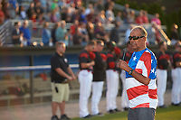 General view of the Batavia Muckdogs national anthem singer before a game against the Mahoning Valley Scrappers on August 30, 2017 at Dwyer Stadium in Batavia, New York.  Batavia defeated Mahoning Valley 5-1.  (Mike Janes/Four Seam Images)