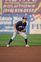 Connecticut Tigers shortstop Cole Peterson (20) during a game against the Auburn Doubledays on August 9, 2017 at Falcon Park in Auburn, New York.  Connecticut defeated Auburn 6-4.  (Mike Janes/Four Seam Images)