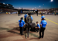 Jul 26, 2019; Sonoma, CA, USA; Crew members with NHRA top fuel driver Leah Pritchett during qualifying for the Sonoma Nationals at Sonoma Raceway. Mandatory Credit: Mark J. Rebilas-USA TODAY Sports