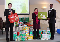 (L-R) Aldi area manager Matt Wright, Steph Palmer of the parent and toddler group and Aldi area manager Dayo Layinka