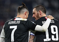 Calcio, Serie A: Juventus - Parma, Turin, Allianz Stadium, January 19, 2020.<br /> Juventus' Cristiano Ronaldo (l) celebrates after scoring his first goal in the match with his teammate Leonardo Bonucci (r) during the Italian Serie A football match between Juventus and Parma at the Allianz stadium in Turin, January 19, 2020.<br /> UPDATE IMAGES PRESS/Isabella Bonotto