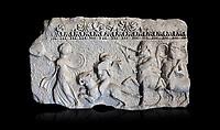 Roman relief sculpture of the Dionysus Festival. Roman 2nd century AD, Hierapolis Theatre.. Hierapolis Archaeology Museum, Turkey . Against an black background