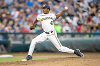 Michigan Wolverines pitcher Angelo Smith (40) delivers a pitch to the plate against the Vanderbilt Commodores during Game 2 of the NCAA College World Series Finals on June 25, 2019 at TD Ameritrade Park in Omaha, Nebraska. Vanderbilt defeated Michigan 4-1. (Andrew Woolley/Four Seam Images)