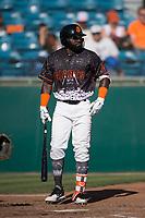 San Jose Giants left fielder Jacob Heyward (33) at bat during a California League game against the Lancaster JetHawks at San Jose Municipal Stadium on May 12, 2018 in San Jose, California. Lancaster defeated San Jose 7-6. (Zachary Lucy/Four Seam Images)