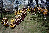St. John Villa Academy. Teenager girls in cheerleader & band uniforms. 1959