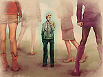 Man standing with women around him