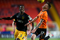 2nd October 2020; Tannadice Park, Dundee, Scotland; Scottish Premiership Football, Dundee United versus Livingston; Jamie Robson of Dundee United competes in the air with Marvin Bartley of Livingston