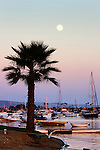Moon Over Bay, Newport Harbor, CA.