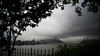 "NEW YORK, NY - AUGUST 4: The One World Trade Center and lower Manhattan are pictured as city gets ready for tropical storm Isaias on August 4, 2020 in New York City. The Tri-State area ""New York, New Jersey and Connecticut"" is preparing for torrential rain, strong winds from Tropical storm Isaias. (Photo by Eduardo MunozAlvarez/VIEWpress)"