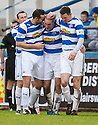 Morton's Michael Tidser (centre) is congratulated after he scores their goal.