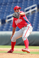 Philadelphia Phillies pitcher Colton Murray #37 during an Instructional League game against the Pittsburgh Pirates at Bright House Field on October 13, 2011 in Clearwater, Florida.  (Mike Janes/Four Seam Images)
