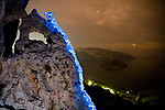 """Pictured:  A 1 minute 25 seconds exposure at Kalymnos, Greece<br /> <br /> Bright bolts of colourful light snake their way across mountains and cliffs.  The striking images were created by a rock climber who wrapped LED lights around his body before capturing long exposure shots of his route.<br /> <br /> Luke Rasmussen took the photos in the deserts of Nevada, in the United States, and admits that his method of 'freezing time in a moment' is unusual.  The 28 year old photographer said: """"Wearing a sweater full of lights and climbing through the darkness of night is certainly a different experience than most climbers will get.  SEE OUR COPY FOR DETAILS.<br /> <br /> Please byline: Luke Rasmussen/Solent News<br /> <br /> © Luke Rasmussen/Solent News & Photo Agency<br /> UK +44 (0) 2380 458800"""