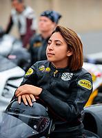 Sep 13, 2019; Mohnton, PA, USA; NHRA pro stock motorcycle rider Jianna Salinas during qualifying for the Keystone Nationals at Maple Grove Raceway. Mandatory Credit: Mark J. Rebilas-USA TODAY Sports