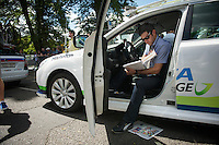 DS Julian Dean (NZL/Orica-GreenEDGE) doing a last check of the course (before the start)<br /> <br /> 2014 Tour de France<br /> stage 3: Camebridge-London (155km)