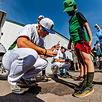 12 June 2021: Members of the Vermont Lake Monsters  sign autographs prior to a game against the Westfield Starfires at Centennial Field in Burlington, Vermont. The Lake Monsters defeated the Starfires 4-1 at Centennial Field, in Burlington, Vermont. Mandatory Credit: Ed Wolfstein Photo *** RAW (NEF) Image File Available ***