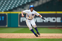 Ben Aklinski (52) of the Kentucky Wildcats takes his lead off of first base against the Sam Houston State Bearkats during game four of the 2018 Shriners Hospitals for Children College Classic at Minute Maid Park on March 3, 2018 in Houston, Texas. The Wildcats defeated the Bearkats 7-2.  (Brian Westerholt/Four Seam Images)