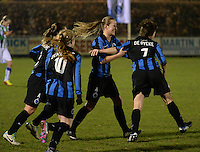 20131213 - VARSENARE , BELGIUM : Brugge's Ingrid De Rycke (right) pictured celebrating her goal and lead for Brugge (1-0) during the female soccer match between Club Brugge Vrouwen and PEC Zwolle Ladies , of  matchday 14  in the BENELEAGUE competition. Friday 13th December 2013. PHOTO DAVID CATRY