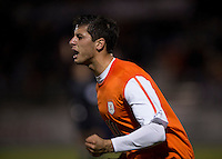 Nicko Corriveau (10) of Virginia celebrates his goal during the ACC tournament semifinals at the Maryland SoccerPlex in Boyds, MD.  Virginia advanced to the finals after tying Notre Dame, 3-3, in overtime and then defeating them on penalty kicks.