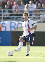 Team captain Carlos Bocanegra slides the ball forward. The USA defeated China, 4-1, in an international friendly at Spartan Stadium, San Jose, CA on June 2, 2007.