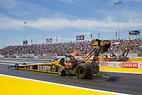 Jun. 1, 2014; Englishtown, NJ, USA; NHRA top fuel driver Tony Schumacher during the Summernationals at Raceway Park. Mandatory Credit: Mark J. Rebilas-