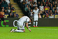 Thursday  03 October  2013  Pictured:Michu of Swansea lies onjured in the first half<br /> Re:UEFA Europa League, Swansea City FC vs FC St.Gallen,  at the Liberty Staduim Swansea