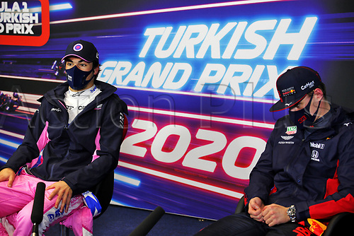 14th November 2020; Istanbul Park, Istanbul, Turkey; FIA Formula One World Championship 2020, Grand Prix of Turkey, qualifying; Pole sitter 18 Lance Stroll CAN, BWT Racing Point F1 Team with 2nd on grid 33 Max Verstappen NLD, Aston Martin Red Bull Racing
