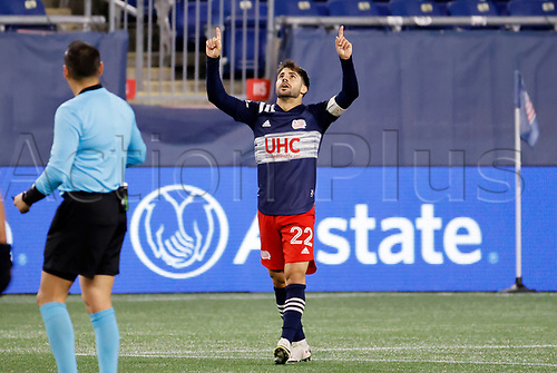 20th November 2020; Foxborough, MA, USA;  New England Revolution forward Carles Gil celebrates scoring during the MLS Cup Play-In game between the New England Revolution and the Montreal Impact