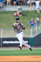 Birmingham Barons shortstop Tim Anderson (7) makes a throw to first base against the Tennessee Smokies at Regions Field on May 3, 2015 in Birmingham, Alabama.  The Smokies defeated the Barons 3-0.  (Brian Westerholt/Four Seam Images)