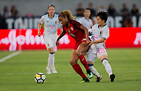 Carson, CA - Thursday August 03, 2017: Casey Short, Yuka Momiki during a 2017 Tournament of Nations match between the women's national teams of the United States (USA) and Japan (JAP) at StubHub Center.