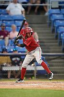 Altoona Curve center fielder Pablo Reyes (27) at bat during a game against the Binghamton Rumble Ponies on May 17, 2017 at NYSEG Stadium in Binghamton, New York.  Altoona defeated Binghamton 8-6.  (Mike Janes/Four Seam Images)
