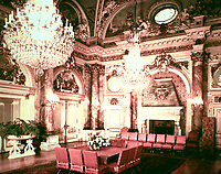 """State dining room of """"The Breakers"""" in Ochre Point, Newport, Rhode Island. Lavish Beaux Arts style. Designed by Richard Morris Hunt, 1893."""
