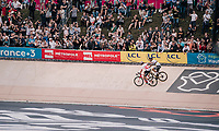 World Champion Peter Sagan (SVK/Bora-Hansgrohe) wins the 116th Paris-Roubaix  & is congratulated by runner-up Silvan Dillier (SUI/AG2R-La Mondiale)<br /> <br /> 1 Day Race. Compiègne - Roubaix (257km)