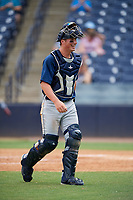 Lakeland Flying Tigers catcher Austin Athmann (19) walks back to the dugout during a game against the Tampa Tarpons on April 8, 2018 at George M. Steinbrenner Field in Tampa, Florida.  Lakeland defeated Tampa 3-1.  (Mike Janes/Four Seam Images)
