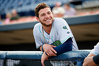 Lynchburg Hillcats shortstop Alexis Pantoja (6) before the second game of a doubleheader against the Frederick Keys on June 12, 2018 at Nymeo Field at Harry Grove Stadium in Frederick, Maryland.  Frederick defeated Lynchburg 8-1.  (Mike Janes/Four Seam Images)
