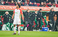 Florian Kohfeldt, Trainer Bremen  celebration  1-3, and Tim Borowski, celebration, celebrates, Freude, , Feiern, Lachen, celebrates, freuen,  reisst die Arme hoch, ballt die Faust  Halbfigur ,  , Einzel, Portrait, Portraet, Einzel  <br /> FC AUGSBURG -  SV WERDER BREMEN  1-3<br /> Football 1. Bundesliga , Augsburg,17.03.2018, 27. match day,  2017/2018, 1.Liga, 1.Bundesliga, <br />  *** Local Caption *** © pixathlon<br /> Contact: +49-40-22 63 02 60 , info@pixathlon.de