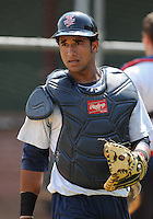 Catcher Jhonathan Arias (7) of the Elizabethton Twins in a game against the Danville Braves on July 16, 2010, at Joe O'Brien Field in Elizabethton, Tenn. Photo by: Tom Priddy/Four Seam Images