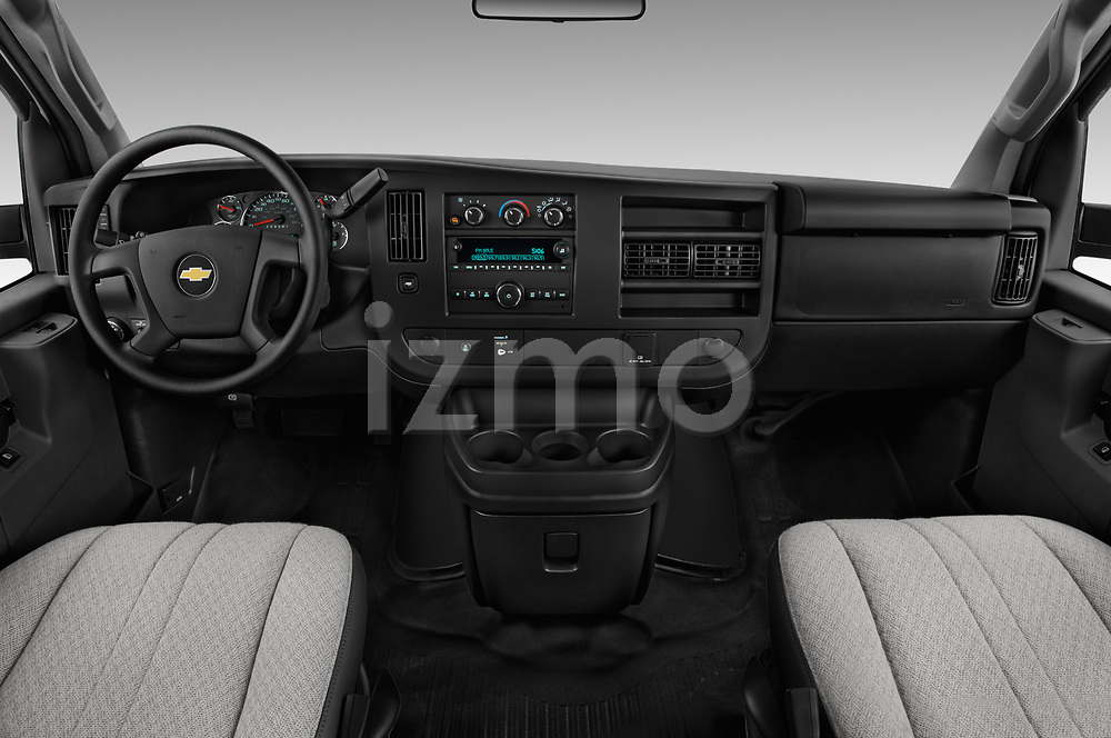Stock photo of straight dashboard view of a 2018 Chevrolet Express 3500 3500 Extended Work Van 4 Door Cargo Van