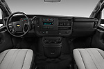 Stock photo of straight dashboard view of a 2018 Chevrolet Express 3500 3500 Extended Work Van 4 Door Cargo Van
