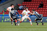 20130310 Copyright onEdition 2013©.Free for editorial use image, please credit: onEdition..Ben Ransom of Saracens is tackled by Nick MacLeod of Sale Sharks during the LV= Cup semi final match between Sale Sharks and Saracens at the Salford City Stadium on Sunday 10th March 2013 (Photo by Rob Munro)..For press contacts contact: Sam Feasey at brandRapport on M: +44 (0)7717 757114 E: SFeasey@brand-rapport.com..If you require a higher resolution image or you have any other onEdition photographic enquiries, please contact onEdition on 0845 900 2 900 or email info@onEdition.com.This image is copyright onEdition 2013©..This image has been supplied by onEdition and must be credited onEdition. The author is asserting his full Moral rights in relation to the publication of this image. Rights for onward transmission of any image or file is not granted or implied. Changing or deleting Copyright information is illegal as specified in the Copyright, Design and Patents Act 1988. If you are in any way unsure of your right to publish this image please contact onEdition on 0845 900 2 900 or email info@onEdition.com