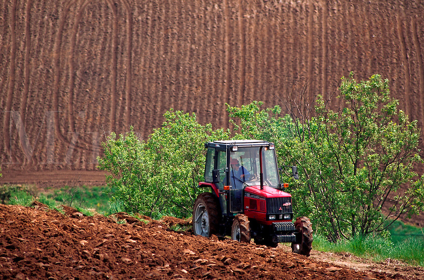A Japanese farmer plows his agricultural field in his tractor in late spring. Hokkaido, Japan.