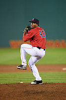 Salem Red Sox relief pitcher Algenis Martinez (45) delivers a pitch during the second game of a doubleheader against the Potomac Nationals on June 11, 2018 at Haley Toyota Field in Salem, Virginia.  Potomac defeated Salem 4-0.  (Mike Janes/Four Seam Images)