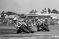 Eddie Lawson, #4 Yamaha, leads Bubba Shobert, #67 Honda, Daytona 200, AMA Superbikes, Daytona International Speedway, Daytona Beach, FL, March 9, 1986.(Photo by Brian Cleary/bcpix.com)
