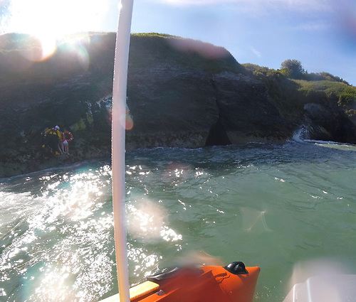 The inshore lifeboat crew took the four people from the rocks and transferred them to the all-weather lifeboat which was standing by offshore