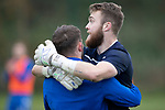 St Johnstone Training…18.10.19<br />Zander Clark pictured hugging Matty Kennedy during training this morning at McDiarmid Park ahead of tomorrow's game at St Mirren<br />Picture by Graeme Hart.<br />Copyright Perthshire Picture Agency<br />Tel: 01738 623350  Mobile: 07990 594431
