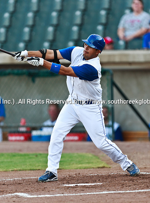 Fort Worth Cats Left Fielder Marcos Rodriguez (16) in action during the American Association of Independant Professional Baseball game between the El Paso Diablos and the Fort Worth Cats at the historic LaGrave Baseball Field in Fort Worth, Tx. Fort Worth defeats El Paso 10 to 9.