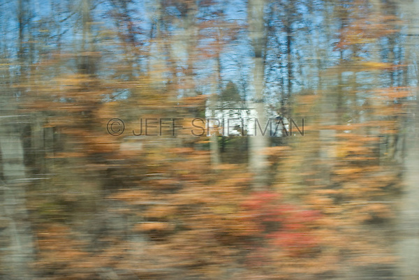 Suburban Housing Development and Trees Viewed from the window of a moving commuter train